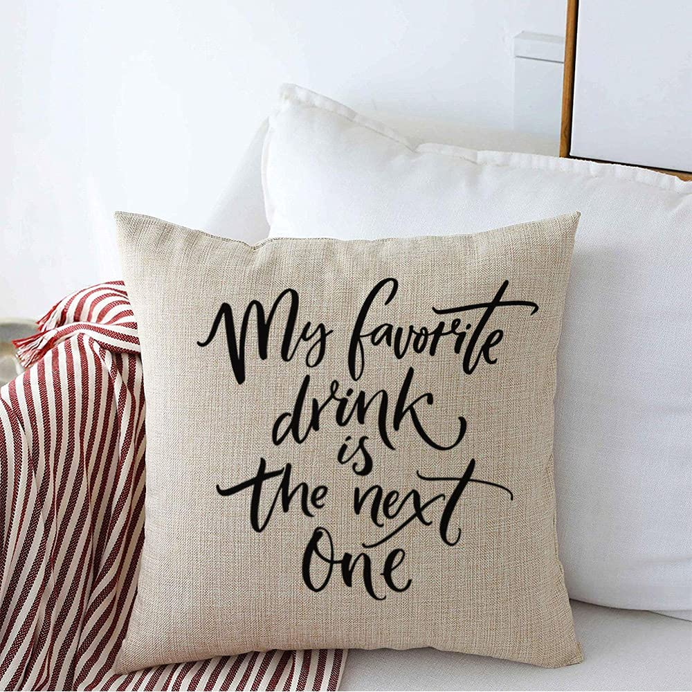 Decorative Throw Pillow Cover Cushion Case Linen My Motivation Posters Wisdom Favorite Drink Life Next One Script Brush Food Encouragement Friday Farmhouse Pillow Cover 24 x 24 Inches for Sofa Car