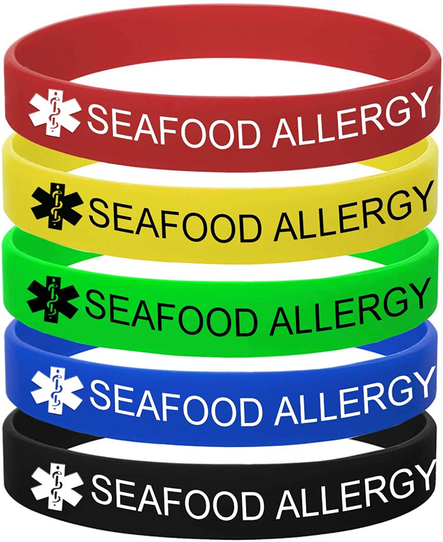 MZZJ 5 Color Pack-Personalized Engraved Medical Alert ID Jewelry Food Drug Allergy Bracelets,100% Silicone Rubber ID Survivor Bracelet Band,Emergency Contact Bracelet,Diabetes Bracelet,5.5