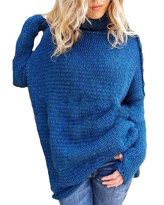 ceb6ae1e71c8 BOLAWOO Jersey Cuello Alto Mujer Otoño Invierno Termica Suéter De Punto  Manga Larga High Collar Anchas Mode De Marca Casuales Elegantes Color  Sólido ...