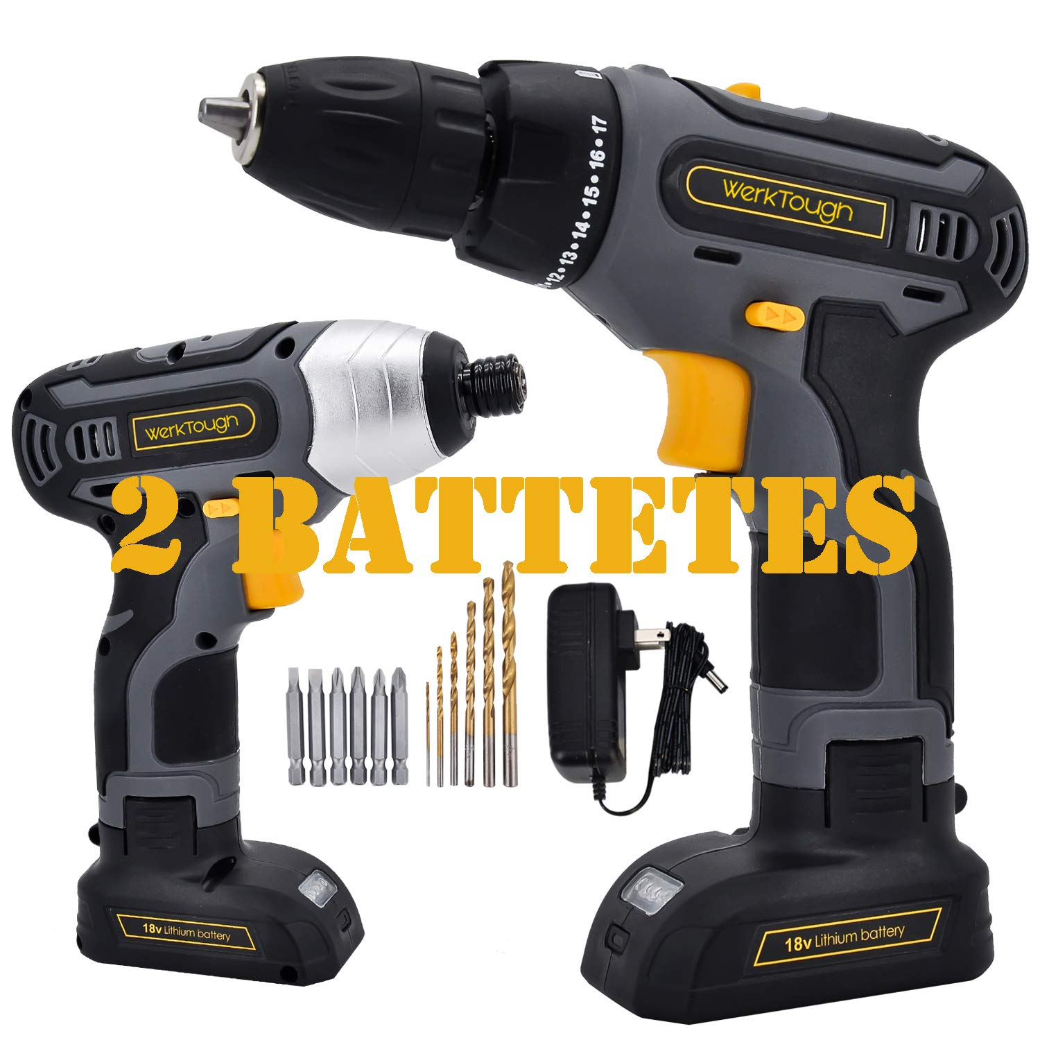 18V 2-Tool Cordless Combo Kit, Cordless Drill And Impact Screwdriver With Double 2 Battery 1 4 Uniteco D011 IS02