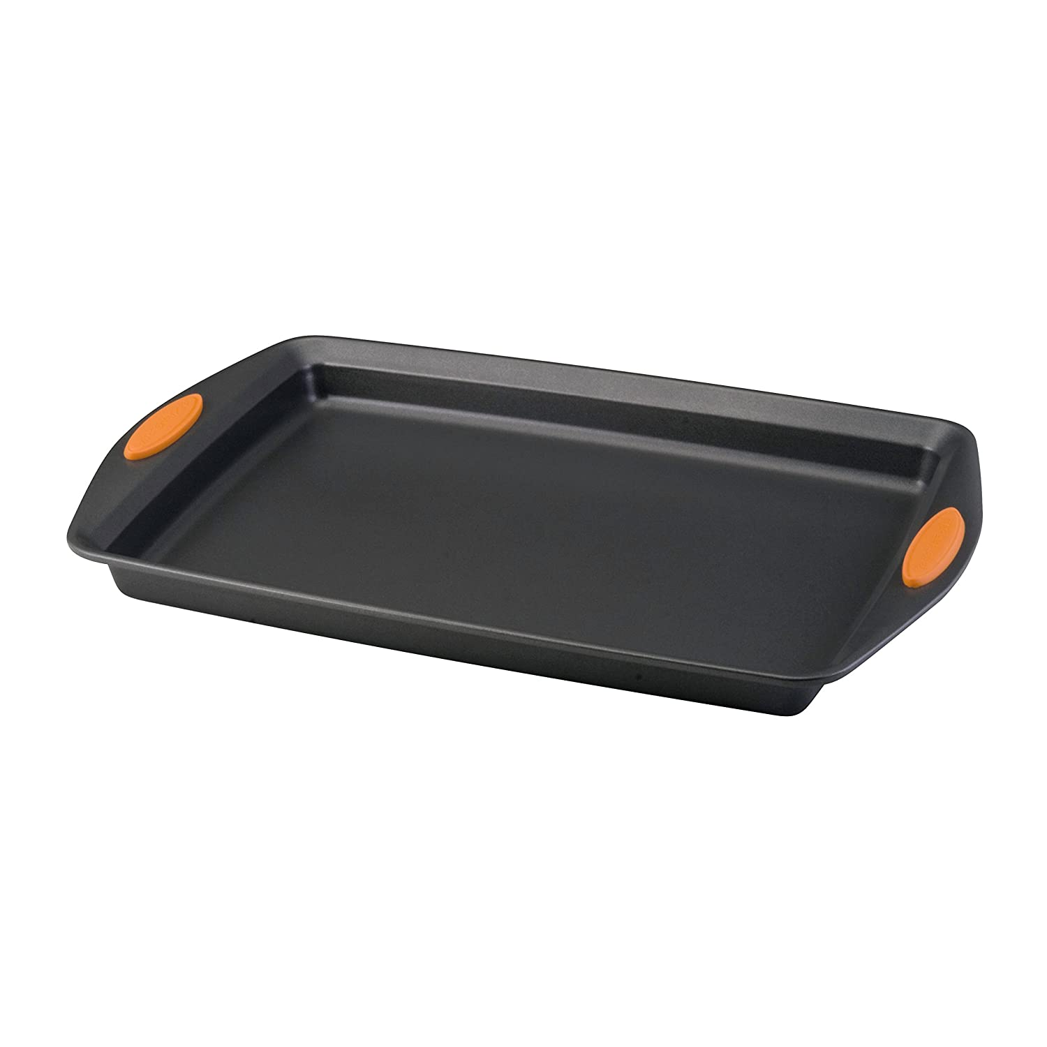 Rachael Ray Yum-o! Nonstick Bakeware 10-Inch by 15-Inch Oven Lovin' Crispy Sheet Cookie Pan, Gray with Orange Handles
