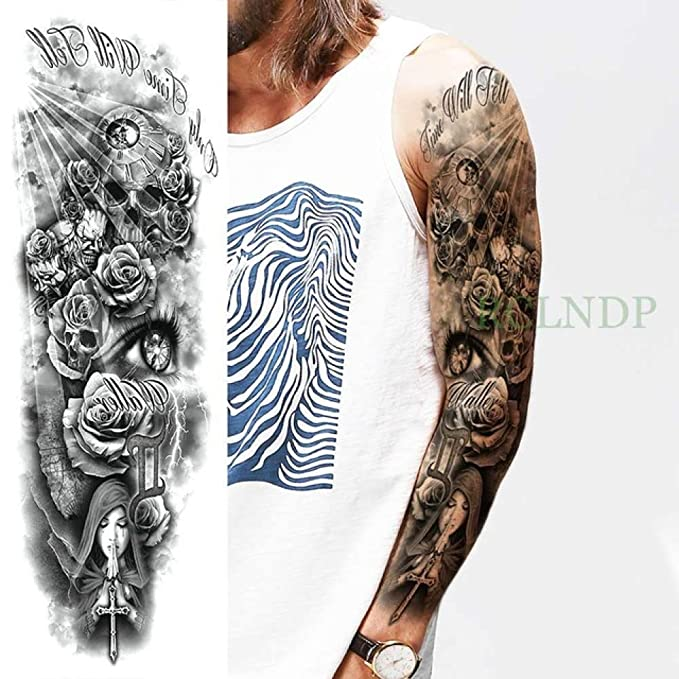 ljmljm 5 Piezas Impermeable Tatuaje Pegatina Flor Letra Lobo Bule ...