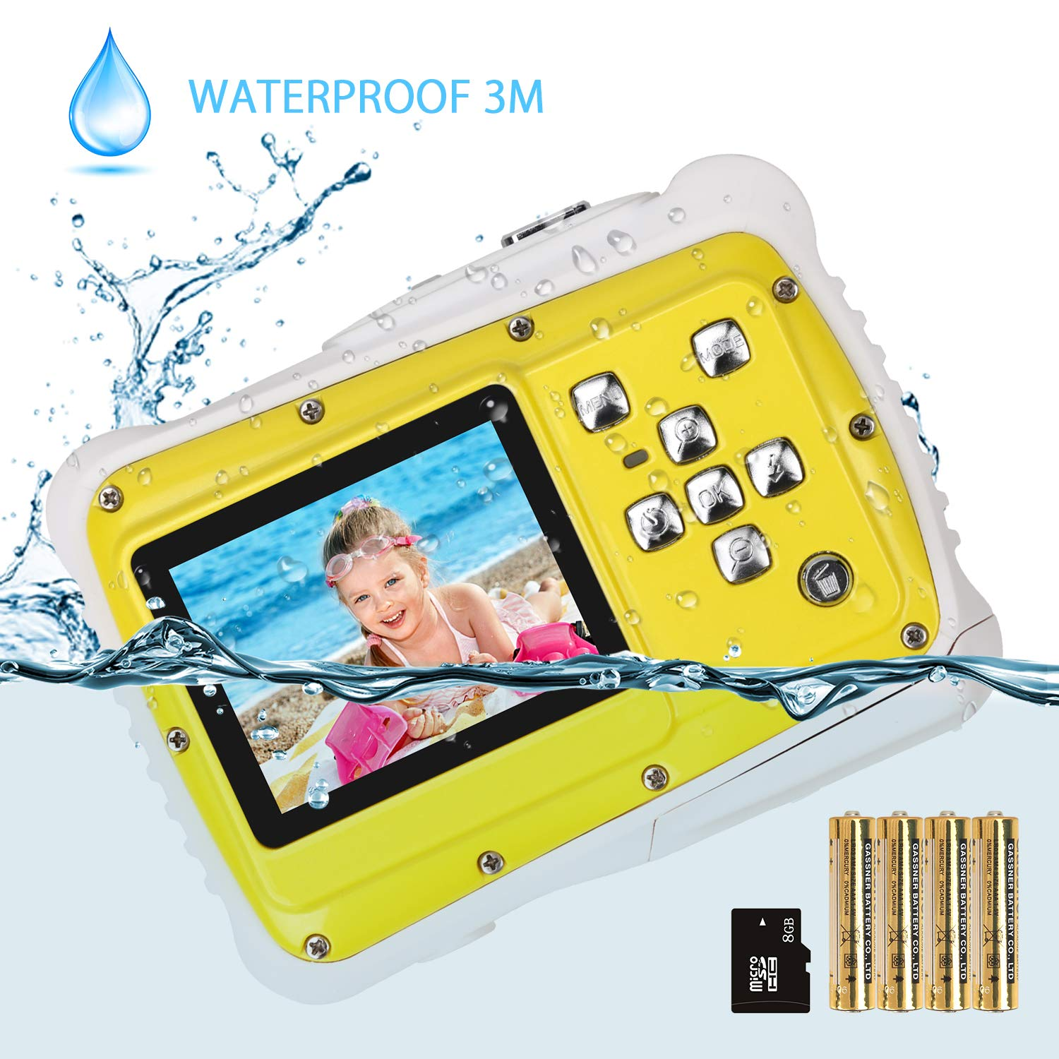 Kids Camera, Digital Waterproof Camera for Children with 3M Waterproof, 2 Inch LCD Screen, 12MP HD Resolution, 8X Digital Zoom and Flash with A 8G SD Card and Non-Rechargeable Battery -  Vine …