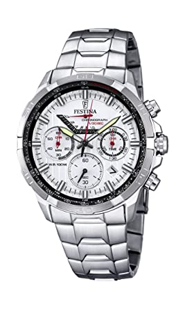 Festina Reloj de Hombre de Cuarzo con cronógrafo, Esfera Blanca y Plata Pulsera de Acero Inoxidable f6836/1: Amazon.es: Relojes