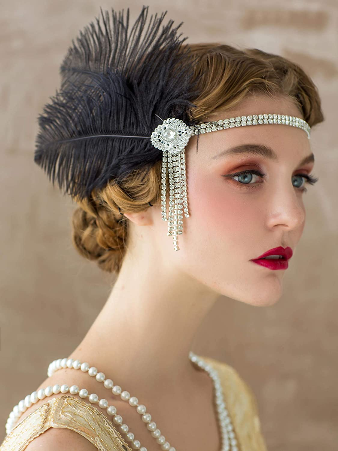 1920s Hairstyles History- Long Hair to Bobbed Hair SWEETV Flapper Headbands Womens 1920s Headpiece Great Gatsby Inspired Feather Headband Cocktail Party Rhinestone Hair Accessories for Women Black $13.99 AT vintagedancer.com