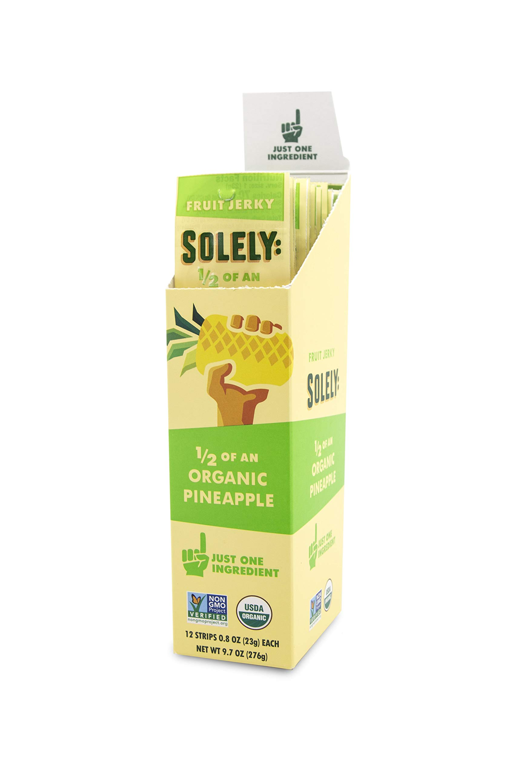 SOLELY Organic Pineapple Fruit Jerky, 12 Strips by SOLELY