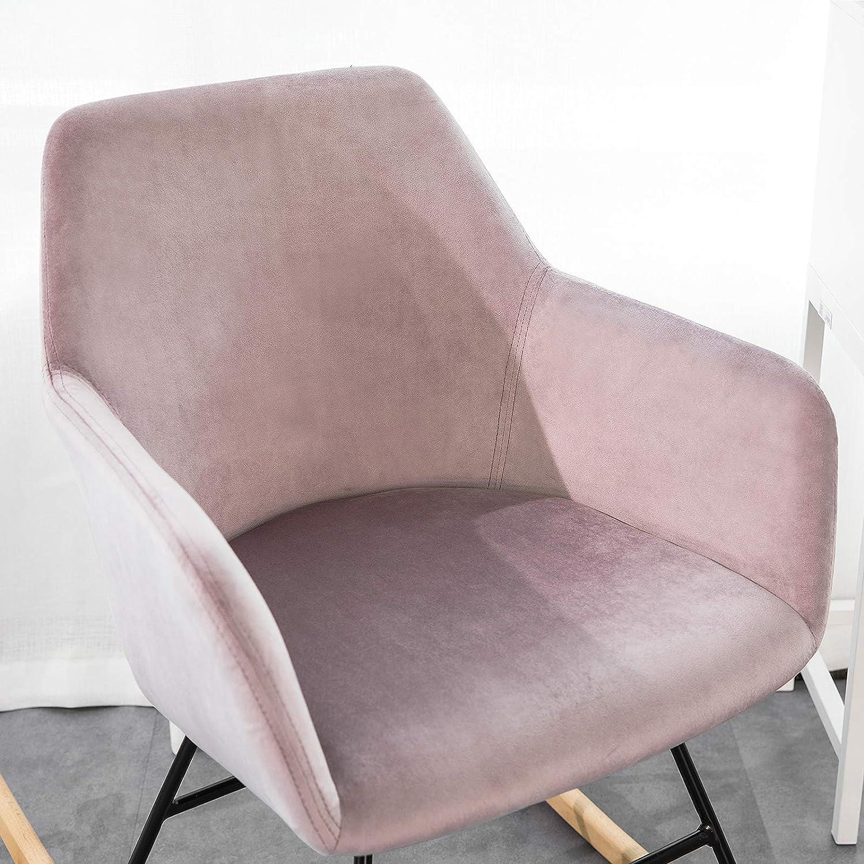 SoBuy Sedia a Dondolo Poltrona Relax Design Carico Massimo 150 kg in Velluto Gambe in Ferro e Legno massello di faggio Rosa FST68-P