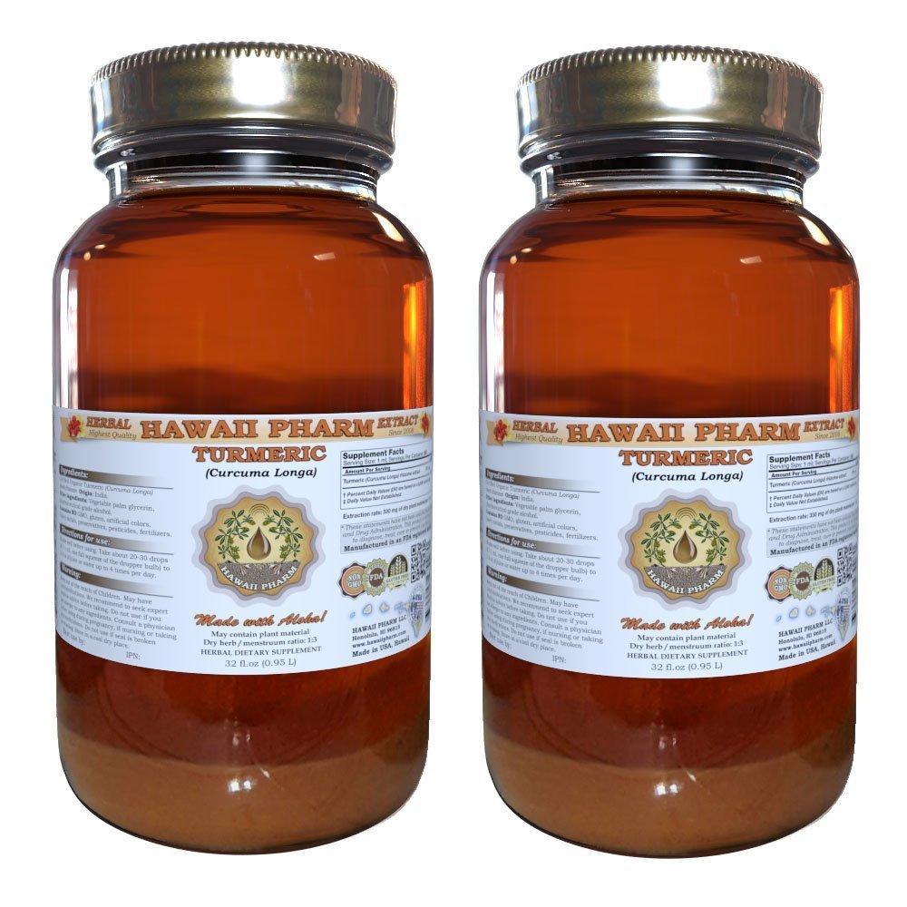 Turmeric Liquid Extract, Organic Turmeric (Curcuma Longa) Tincture, Herbal Supplement, Hawaii Pharm, Made in USA, 2x32 fl.oz