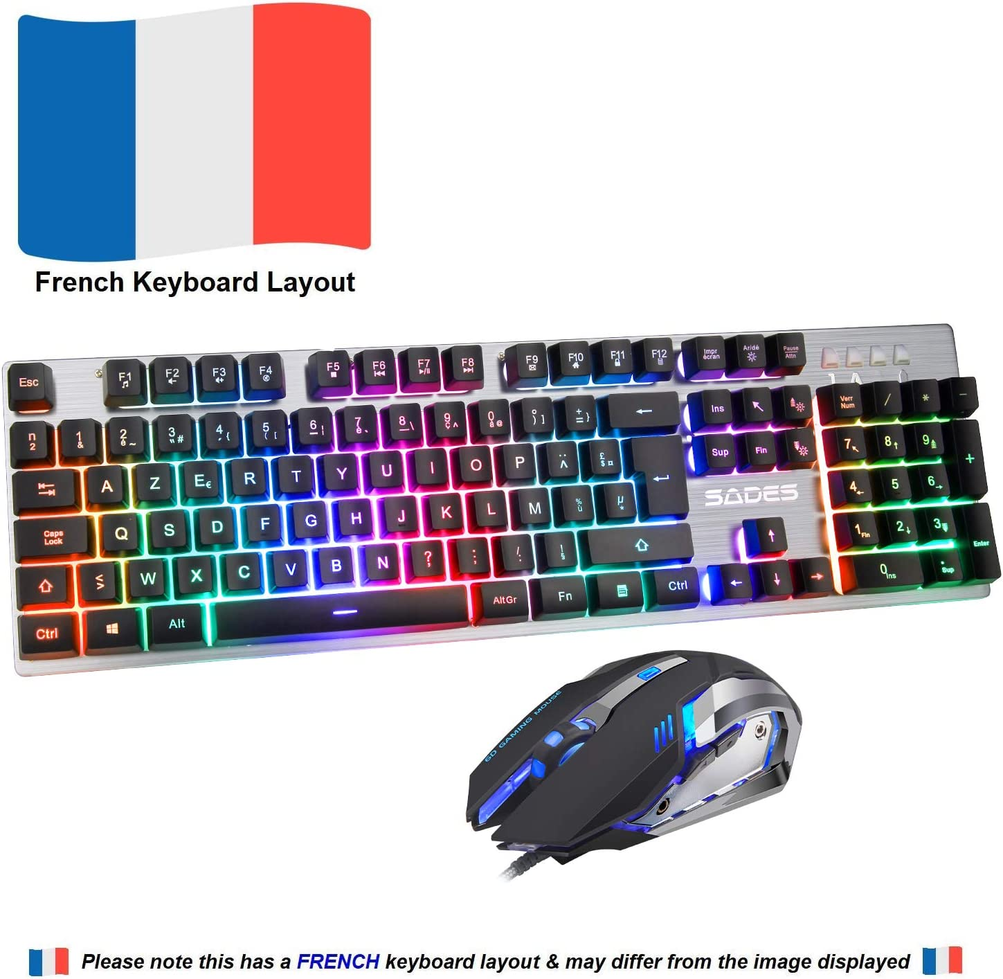 Keyboard Mouse Sades Ek 1 Keyboard Mouse French Computers Accessories