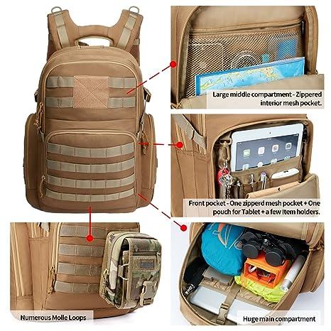 Kalidi Mochila Táctica Militar de 40 litros con Puerto de Carga USB para Senderismo al Aire Libre Camping Trekking, JY01-Black, kaki: Amazon.es: Deportes y ...