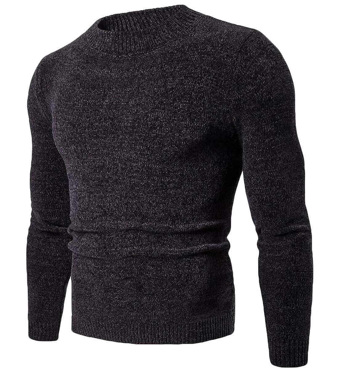X-Future Mens Knit Slim Pullover Solid Color Fashion Crewneck Sweater