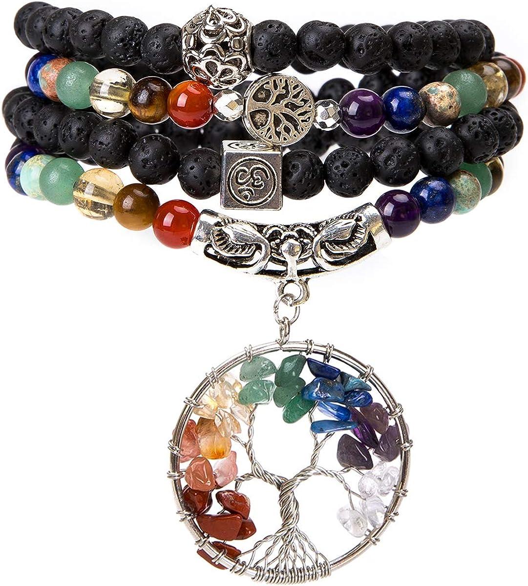 Bivei 108 Mala Beads Bracelet - 7 Chakra Tree of Life Real Healing Gemstone Yoga Meditation Mala Prayer Bead Necklace