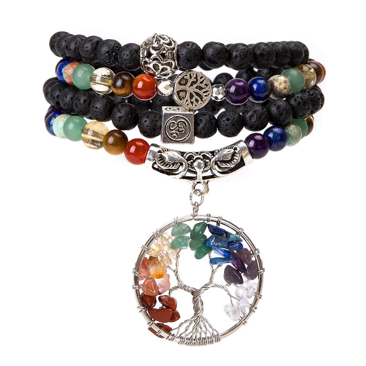 Bivei 108 Mala Beads Bracelet - 7 Chakra Tree of Life Real Healing Gemstone Yoga Meditation Mala Prayer Bead Necklace(Lava Rock Stone) by Bivei