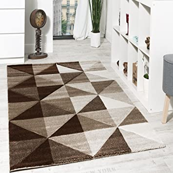 Paco Home Wohnzimmer Teppich Piramid Design Modern Braun Beige ...