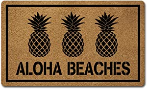 Welcome Door Mats for Home Decor (18 x 30 inch) Funny Mats Gift mats with Anti-Slip Rubber Back Kitchen Rugs Personalized Doormat for Entrance Way (Aloha Beaches Pineapple)