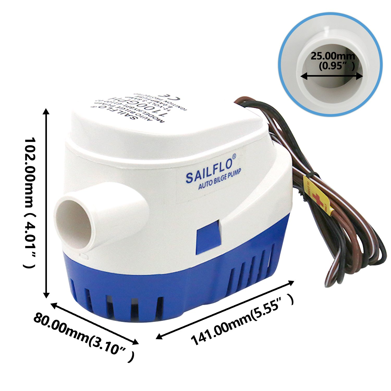 Yopotoys Automatic 1100 Gph 12v Submersible Marine Boat Bass Bilge Pump Wiring Diagram Water Electric Plumbing Of Boating Equipment Sports