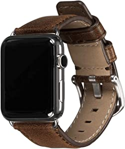 Sena Heritage Leather Watch Band for Apple Watch Compatible with 42mm - Modern, Timeless and Dapper, Heritage Cognac