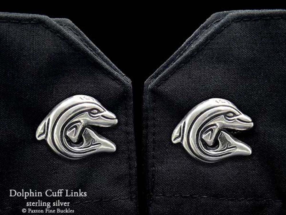 Dolphin Cuff Links in Solid Sterling Silver Hand Carved & Cast by Paxton