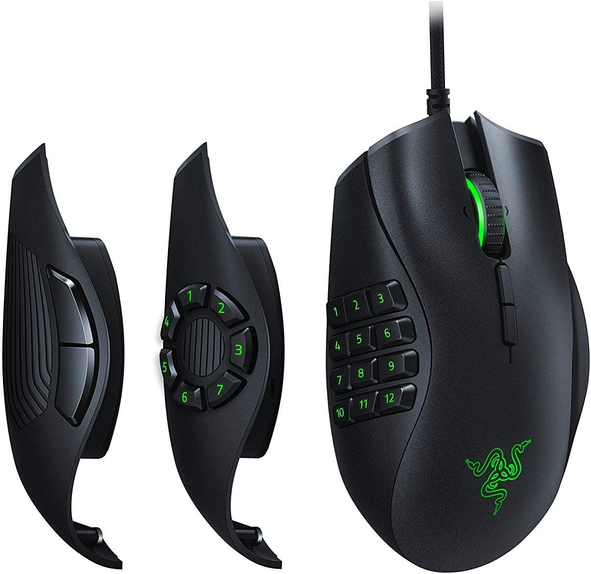 IDS Home Naga Trinity Gaming Mouse, Interchangeable Side Plate wtih 2, 7, 12 Button Configurations - Mechanical Switches
