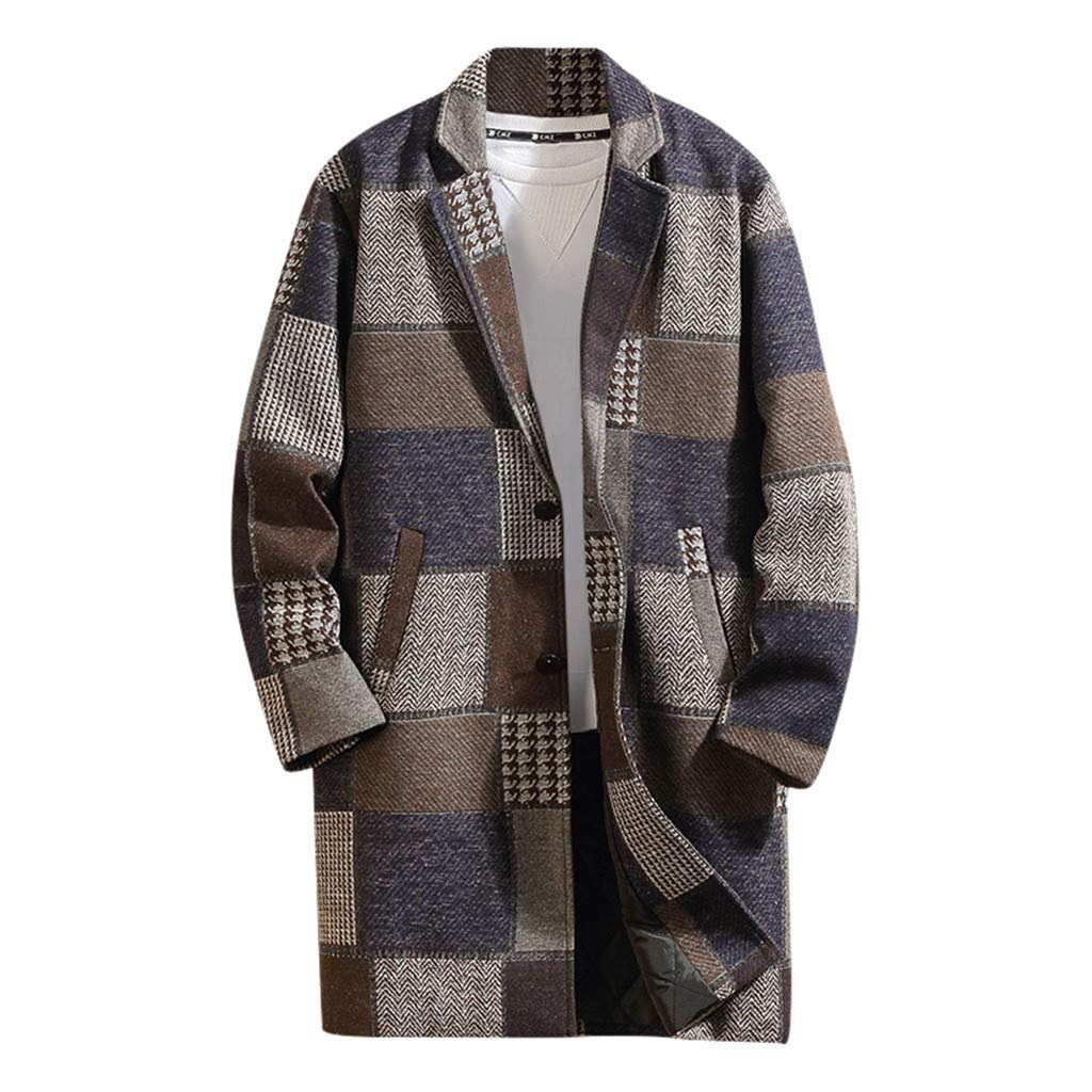Allywit-Mens Autumn Winter Casual Plaid Turn-Down Collar Jacket Thicken Wool Coat Overcoat Coffee by Allywit-Mens