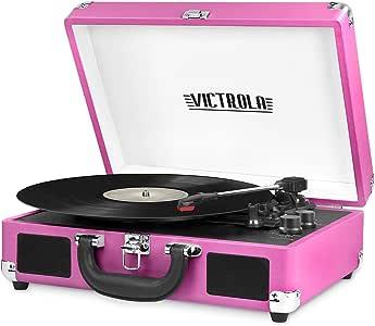 Victrola Vintage 3-Speed Bluetooth Suitcase Turntable with Speakers, Pink