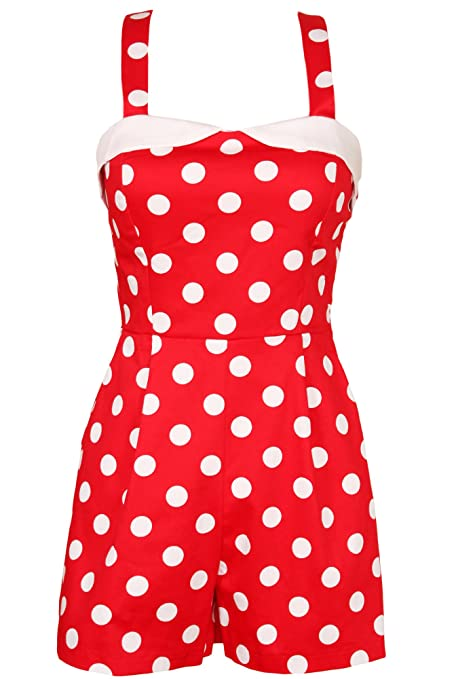 Vintage Rompers | Retro, Pin Up, Rockabilly Playsuits Sidecca Womens 1950s Vintage Inspired Polka Dot Pinup Tank Romper $49.00 AT vintagedancer.com
