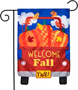 """Briarwood Lane Welcome Fall Pickup Applique Garden Flag Pumpkins Autumn Double Sided 12.5""""x18"""""""