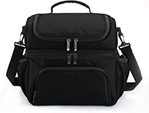 MarsBro Double Deck Insulated Lunch Box for Men Women Diamond Ripstop LargeTote Bag Cooler for Office Picnic School Work, Black