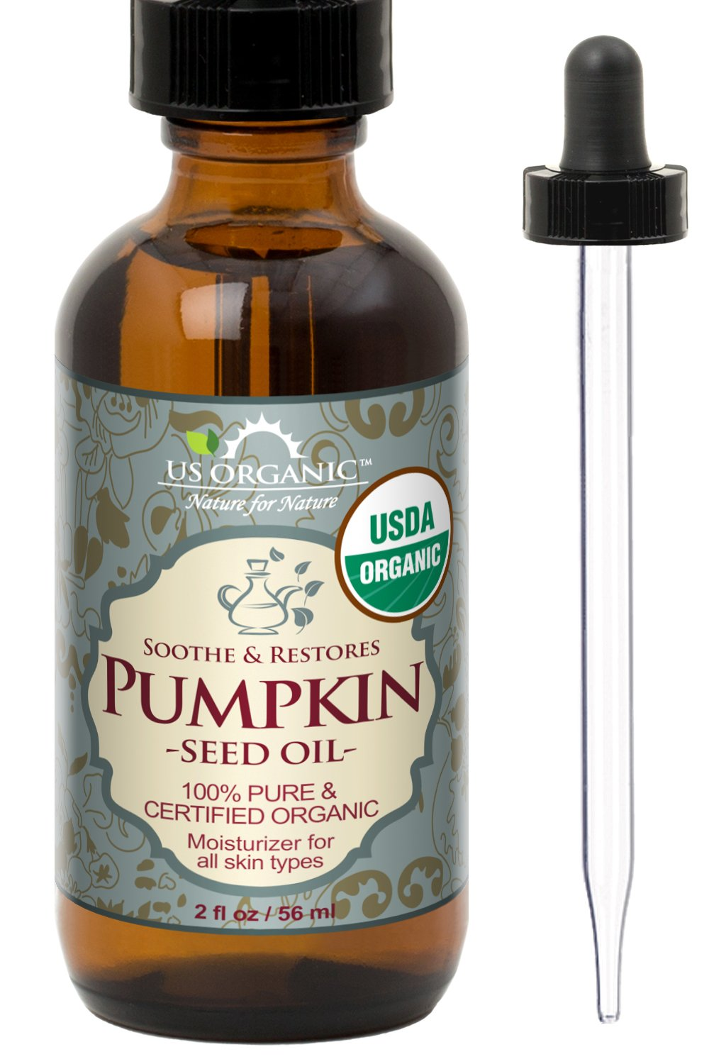 US Organic Pumpkin Seed Oil, USDA Certified Organic,100% Pure & Natural, Cold Pressed Virgin, Unrefined in Amber Glass Bottle w/ Glass Eyedropper for Easy Application (2 oz (56 ml)) US Organic Group Corp