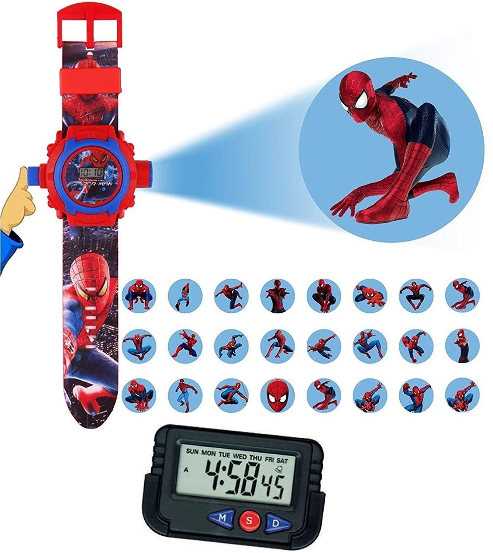 Tableau de Bord // Bureau Horloge de r/éveil avec chronom/ètre et Support Flexible Enfants et Enfants Lot de 2 Bandes de Poignet pour projecteur Spiderman pour Enfants Pappi-Haunt Kids Favorite