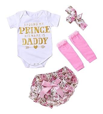 570cef24c Infant Baby Girls 4PCS Set Daddy Letter Print Romper + Floral Bow Pants +  Leg Warmer