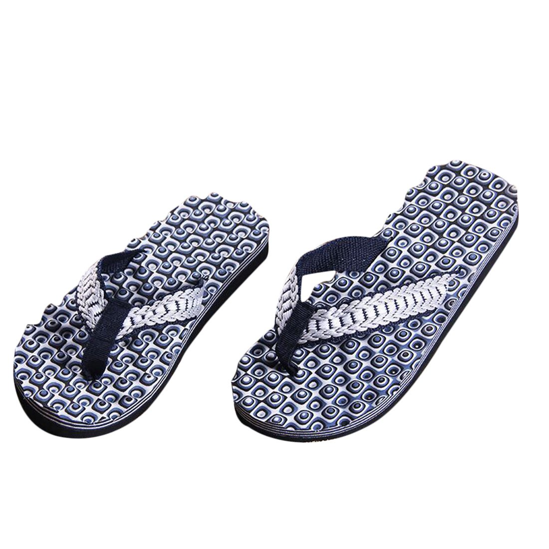 Voberry Men Summer Comfortable Massage Flip Flops Shoes Sandals Male Slipper Indoor & Outdoor Flip-flops (41, Blue)