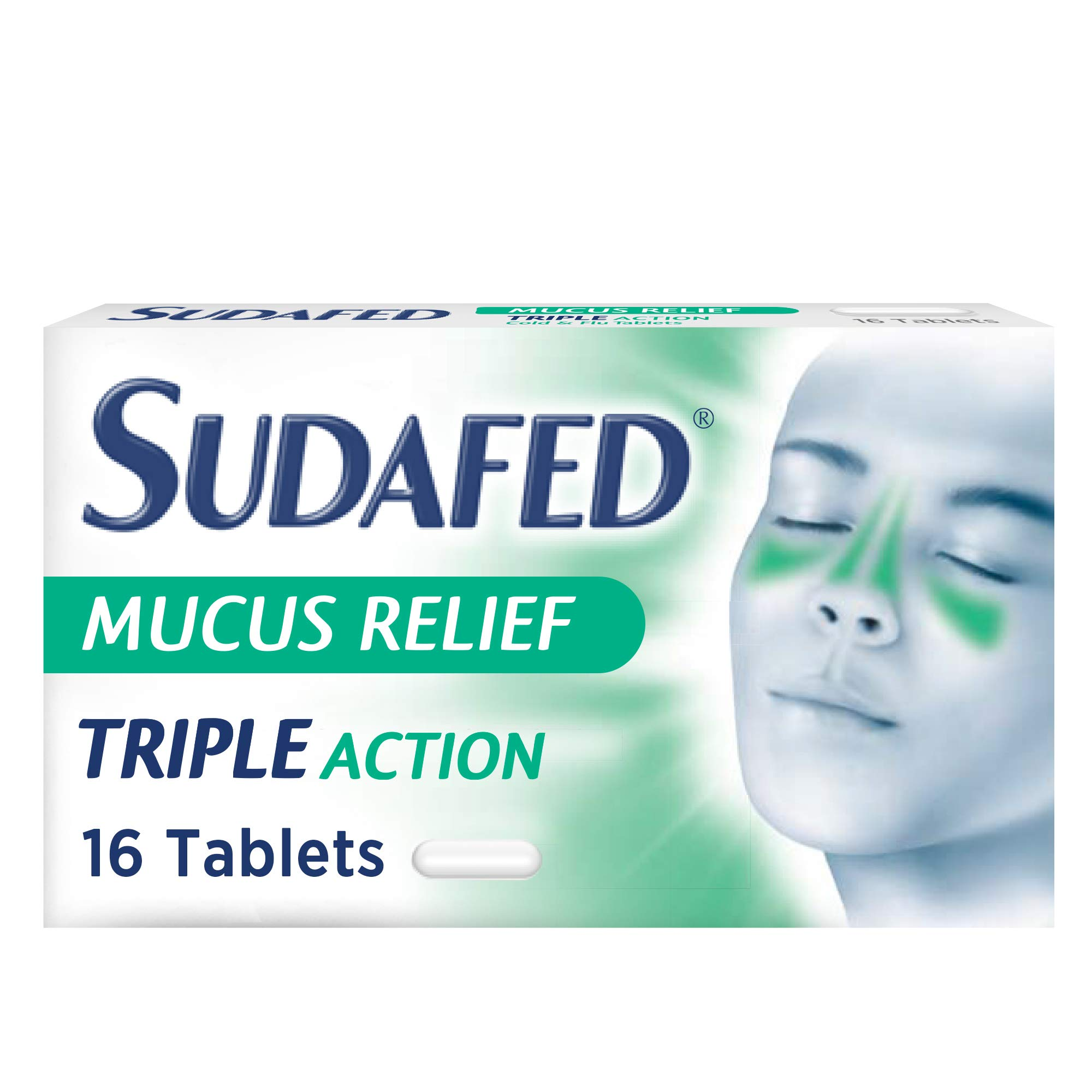 Sudafed Mucus Relief Triple Action Cold and Flu, Stop Cold Symptoms From Day 1, Pack of 16