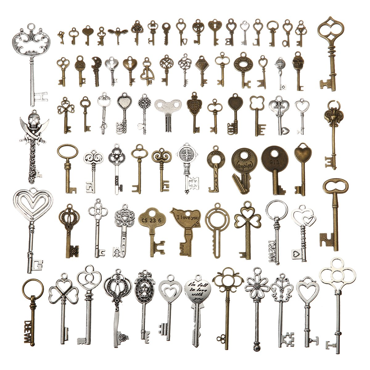 KING DO WAY 69pcs Antique Bronze Vintage Skeleton Keys Charm Set DIY Handmade Accessories Necklace Pendants Jewelry Making Supplies for Wedding Decoration Birthday and Christmas Party 4336819445