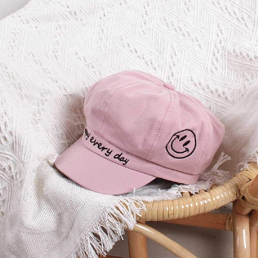 TUOLUO Boina De Niños Bordada Sonrisa Primavera Y Verano Sombrero De Bebé Salvaje para Niños Y Niñas