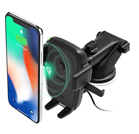 iOttie Easy One Touch Wireless Qi Fast Charge Car Mount Kit || Fast Charge:  Samsung Galaxy S10 S9 Plus S8 S7 Edge Note 8 5 | Standard Charge: iPhone X