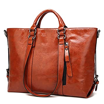 f6e27d57c53cb Plouto Damen Handtasche Braun Leder Damen Schultertasche Frauen  Umhängetasche groß (Braun)