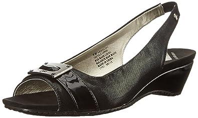 Womens Sandals Anne Klein Halina Black/Black Fabric