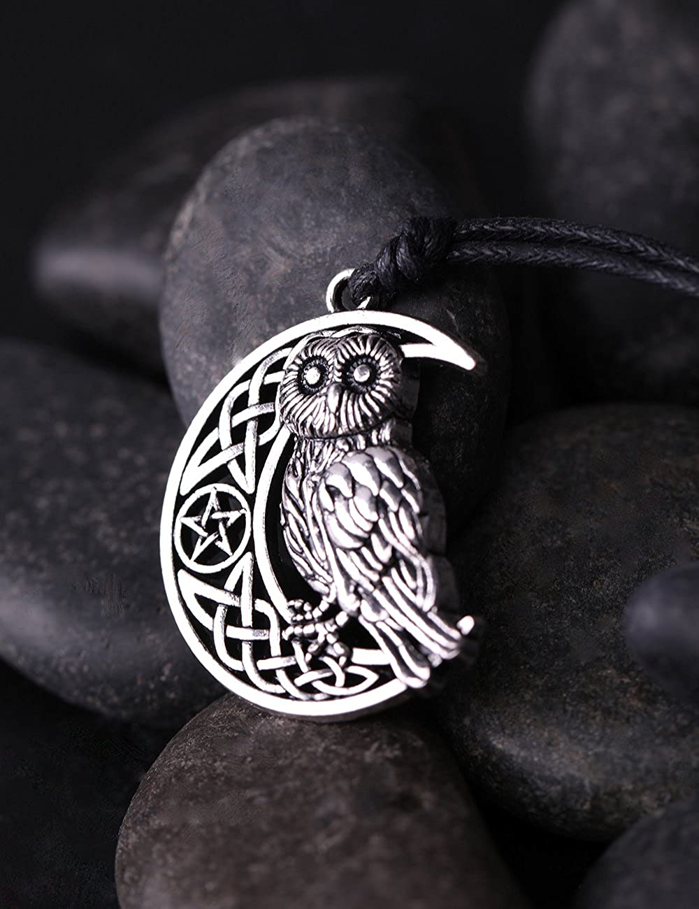 VASSAGO Vintage Owl Animal Sitting on Moon Star Pentacle Irish Celtic Knot Pendant Amulet Necklace