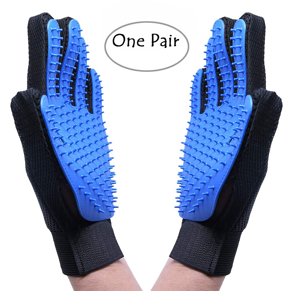 Pawsing Pet Grooming Glove,Dog Cat Massage Tool Hair Remover Mitt,Horse Gentle Deshedding Brush Long & Short Fur Comb, Five Finger DesignBathing Brush,Blue (1 Pair) Zhejiang