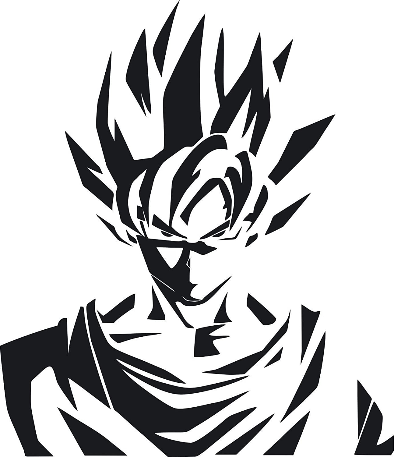 Dbz dragon ball z goku super saiyan black 12 inch die cut vinyl decal for windows cars trucks toolbox laptops macbook virtually any hard smooth