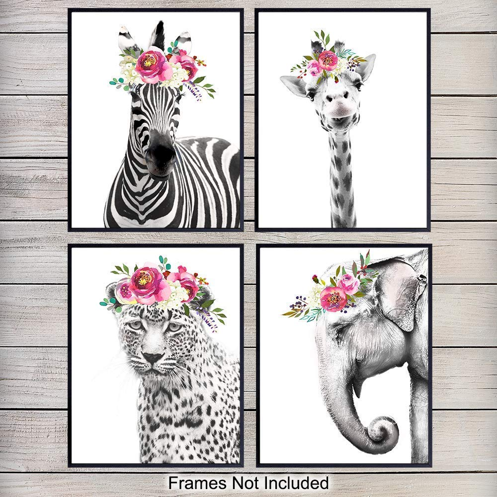 Jungle Animals Floral Watercolor Wall Art Print 4 Posters Set - Home Decor for Girls, Teens or Kids Room, Baby Bedroom, Nursery - Great Shower Gift - 8x10 Unframed - Giraffe, Zebra, Elephant, Leopard