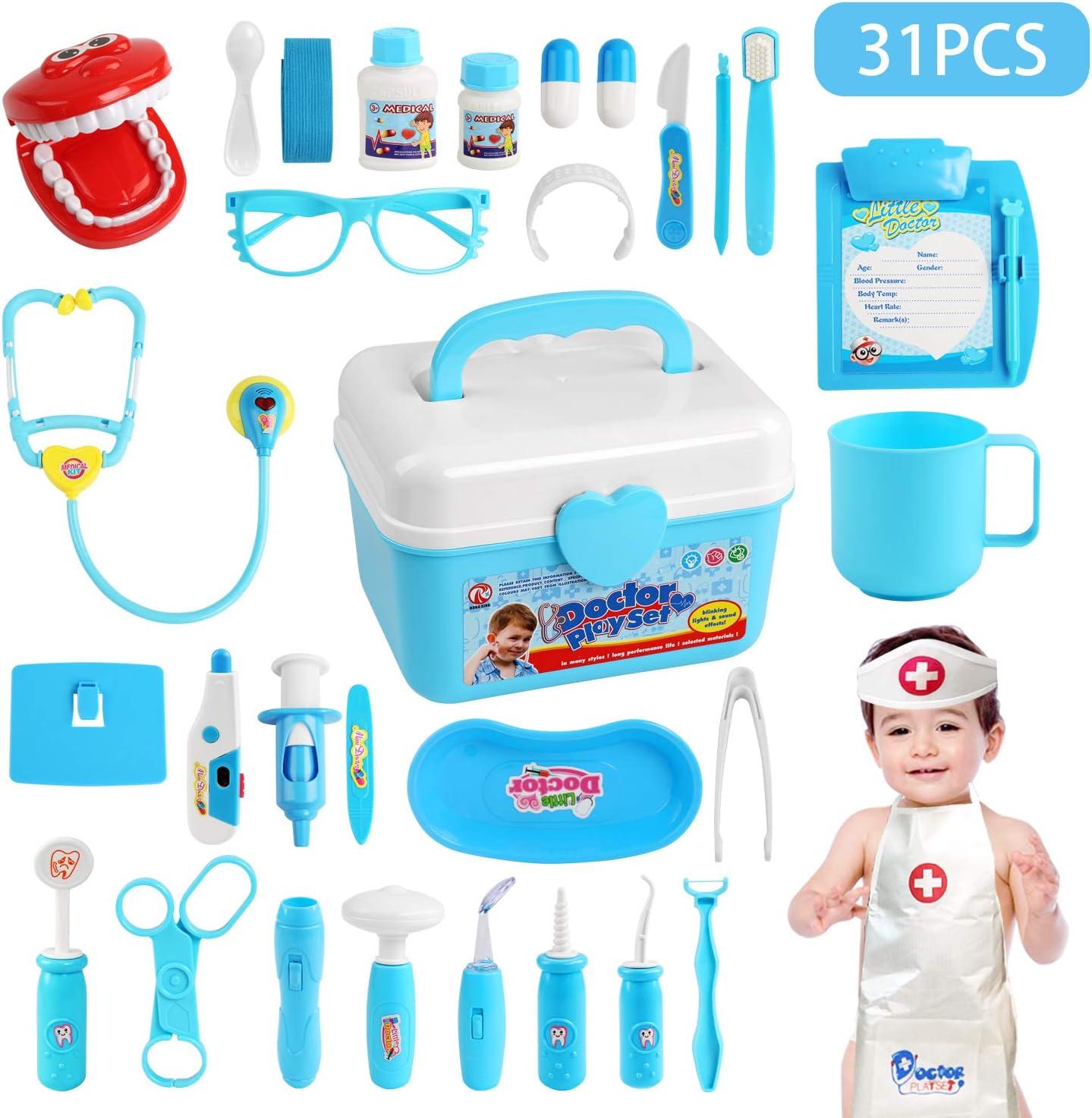 LEADSTAR Maletin Medicos Juguete de Doctora Kit,Juegos de Médicos Enfermera para Niños Juego de rol Cuadro Médico Kit Infantil para años Incluye Equipo de Brillo y Sonido y Bata de Doctor 31 PCS