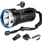 Olight® X7R Marauder 12000 Lumens Rechargeable Torch Light Ultra Bright Powerful Flashlight with USB Type-C Fast Charging Port and Cree XHP70 CW for Outdoors Sports, Self-defense, Search & Rescue X7R (Olight Direct)