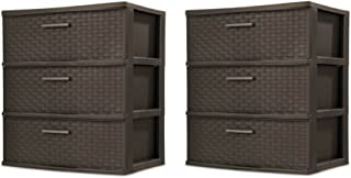 product image for Sterilite 3 Drawer Wide Weave Tower, Espresso - 2 Pack