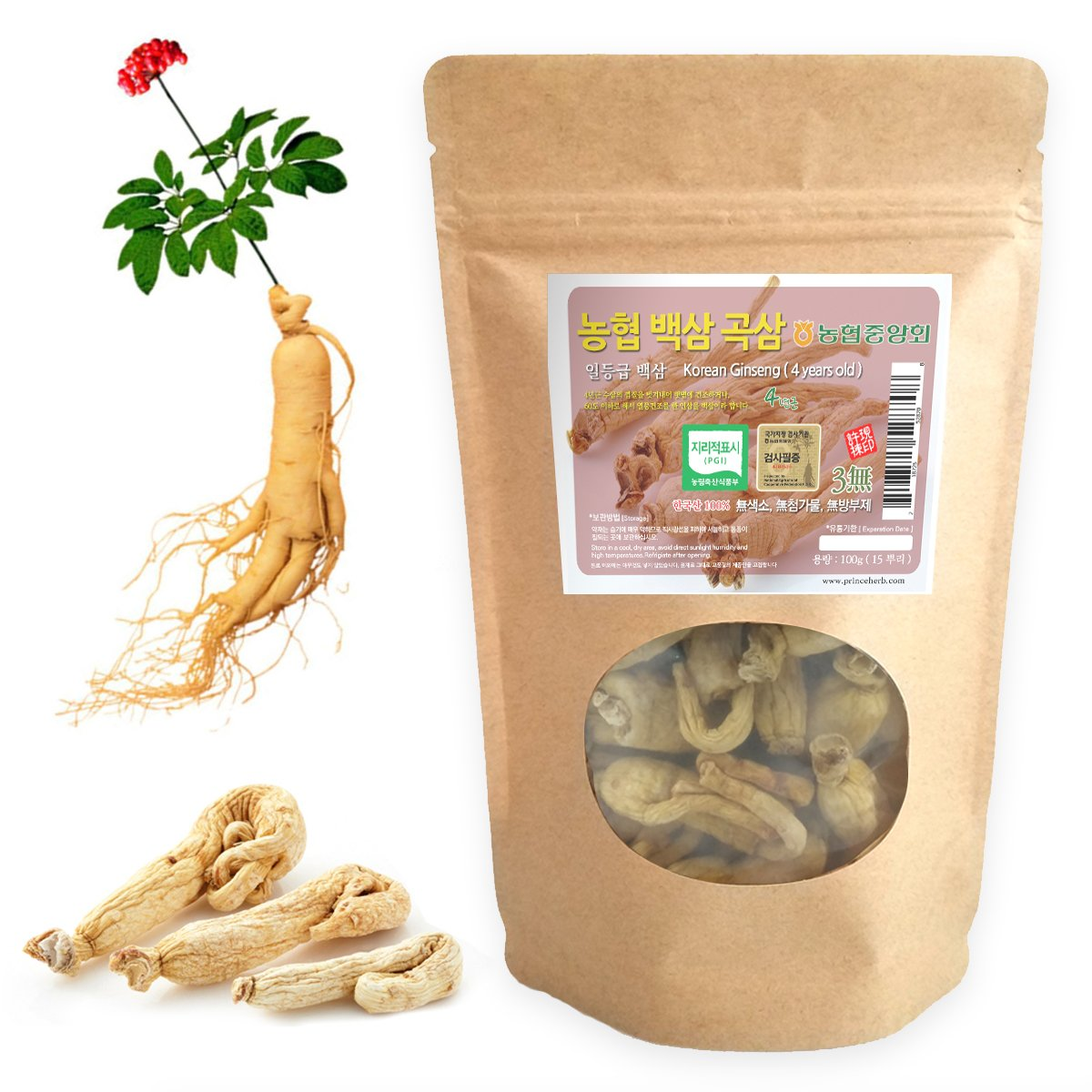 [Medicinal Korean Herb] 4 Years Old Korean Ginseng (Renshen/인삼) Dried Bulk Herbs 100g (15 roots)