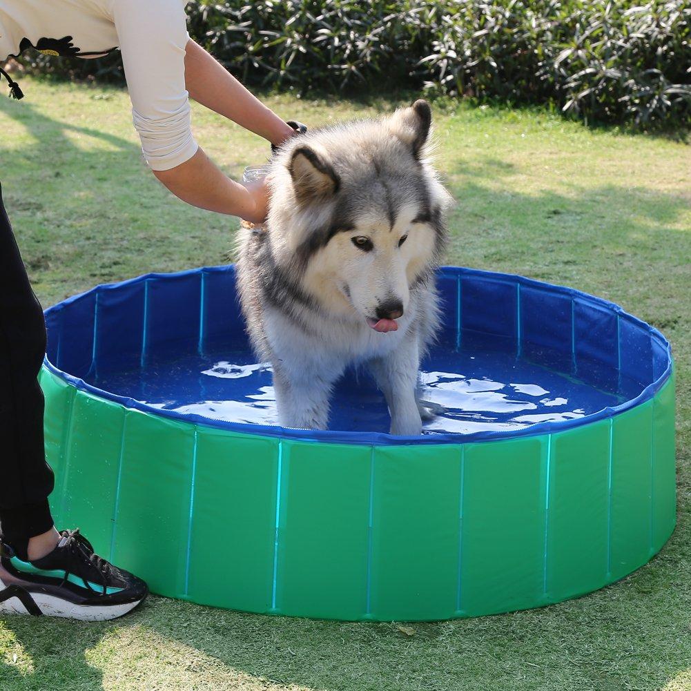 Fuloon - Piscina plegable redonda para animales, bañera para ...