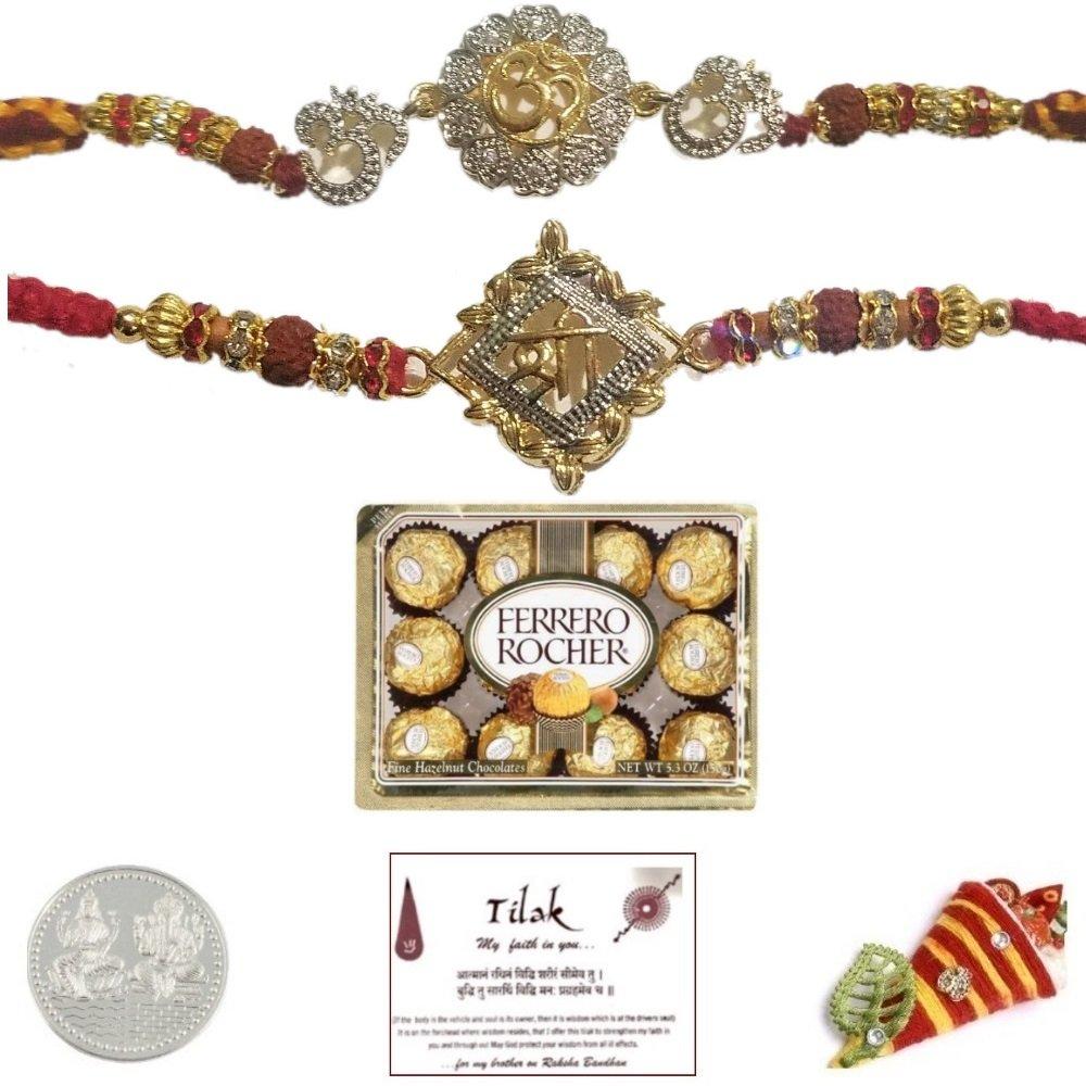 Om Shree Rakhi Bundle Set of 2 with 12 Piece Ferrero Rocher Chocolate & Laxmi Ganesh Coin - Exact Designs will be sent