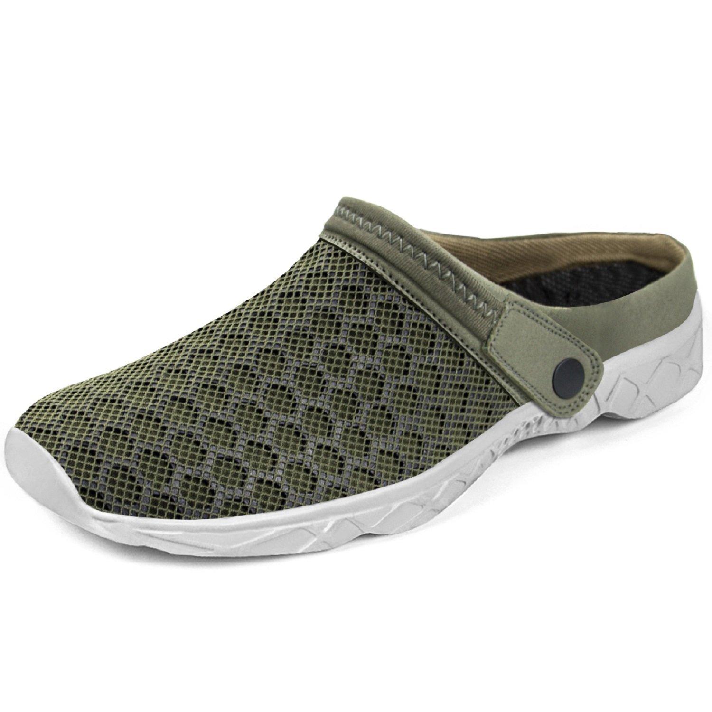Feetmat Men's Garden Clogs Mesh Lightweight Water Shoes Slip On Sandals Summer Aqua Slippers Army Green Size 10