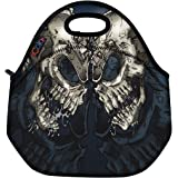 Two Skulls Cool Thermal Neoprene Waterproof Kids Insulated Lunch Portable Carry Tote Picnic Storage Bag Lunch box Food Bag Gourmet Handbag Cooler warm Pouch Tote bag For School work Office FLB-018